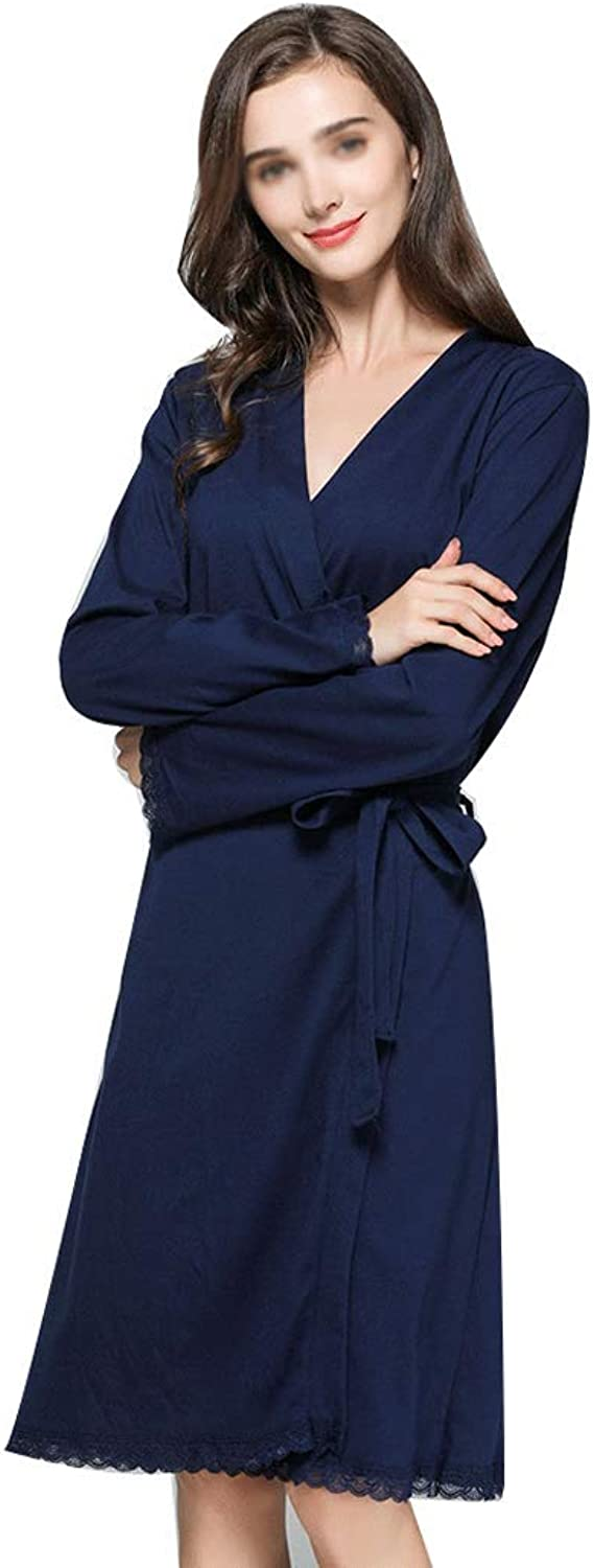 HONGLIAN Women's Pajamas Europe and The United States Spring and Autumn Sexy Lace Robe Soft Cotton Lace Robe in The Long Size HONGLIAN (color   Dark bluee, Size   M)