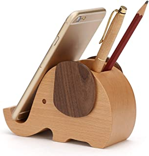 Pencil Holder Cell Phone Stand, Creative Wood Elephant with Phone Holder Desk Organizer Desktop Pen Mobile Phone Bracket Stand Storage Pot Container Stationery Organizer Children's Gift