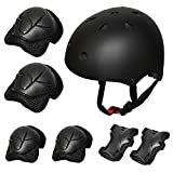Kiwivalley Kids Boys and Girls Outdoor Sports Protective Gear Safety Pads Set [Helmet Knee Elbow Wrist] for Rollerblades, Scooter, Skateboard, Bicycle, Rollerblades (Black)