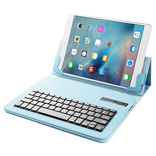 SAHUD Wireless keyboard for Tablet PC Universal Bluetooth V3.0 Keyboard Detachable PU Leather Case, for 9.7-10 inch Tablet PC (Color : Blue)