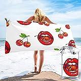 Sunny R Toallas de Microfibra de Viaje Acuarela Labios Rojos Fruta de Cereza Toallas de Secado rápido Toalla de baño súper Absorbente Acampar Deportes Gimnasio Playa Senderismo 31.5 x 63 Pulgadas