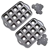 Tosnail 2 Pack 12 Cavity Mini Cheesecake Pan Cupcake Pan with Removable Bottom - Square