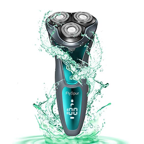Electric Razor for Men,FlySpur Shaver Rotary Cordless Beard Pop-Trimmer Wet Dry Shaver IPX7 100% Waterproof with Time Display(Gray)