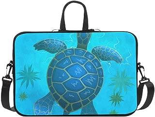 Cartoon Vector Blue Sea Turtle Under Water Pattern Briefcase Laptop Bag Messenger Shoulder Work Bag Crossbody Handbag for Business Travelling