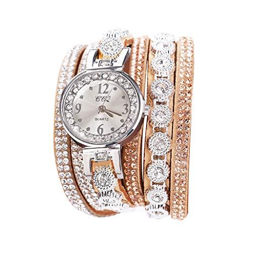 Fenverk Damen Armbanduhr, Retro Vintage Analog Quarz Uhr mit Schmetterling Beads Kugeln Charm Leder Armkette Armband,Spangenuhren Damen,Charm Armband,Analoge Uhren(E#01)