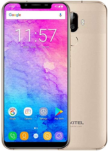 Günstige Smartphone, Oukitel U18 Dual SIM Handy Ohne Vertrag 5.85 Zoll 4GB RAM 64GB ROM 4000mAh Akku Smartphone 4G,16MP/5MP+13MP Kamera Android 7.0 Billige Handy,Gold
