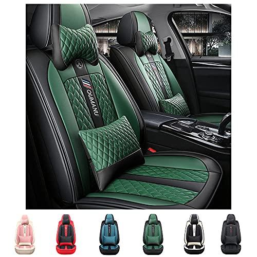 Maiqiken Fundas de asiento delantero de lujo de 2 plazas para Volkswagen Golf R, piel sintética para asiento delantero de coche, antideslizantes, color negro y verde