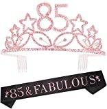 85th Birthday Gifts for Women, 85th Birthday Tiara and Sash, Happy 85th Birthday Party Supplies, 85th Black Glitter Satin Sash and Crystal Tiara Crown, 85th Birthday Party Decorations