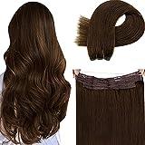 Real Hilo on Hair Extension,LaaVoo 20 Pulgadas Brazilian Human Hilo on Human Hair Extensions Pelo Natural Invisible Secret Wire Extensiones Naturales Dark Brown #4 100Gramo/Pieza