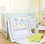 Sweet Baba Luxury Elephant Crib Bedding Set for Boys-Blue/Green/Grey,5 PC Set Includes Quilt/Fitted Sheet/Crib Skirt/Blanket,100% Soft Natural Cotton Baby Nursery Set- Neutral Forest Theme