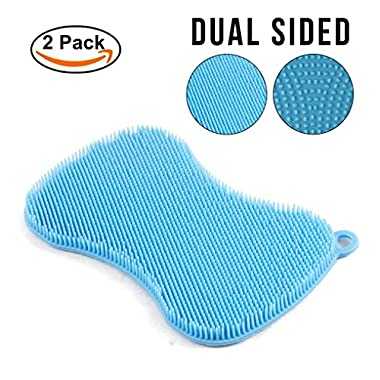 Silicone Kitchen Sponge and Scrubber - Anti-bacterial Brush for Cleaning Dishes, Pots and Pans, Washing Fruit and Vegetables (Qty 2)