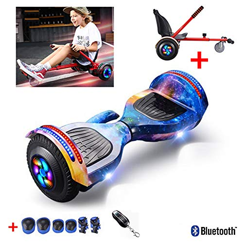 8 Inch Self Balancing Electric Scooter with Hoverkart Go-Kart Added Portable Design with Bluetooth Speaker, Flashing Wheels, Best Gifts for Kids+ A Set of Protective Gear,Starry Sky