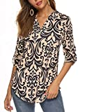 Halife Womens Floral Printed Tunic Shirts 3/4 Roll Sleeve Notch Neck Tunic Top Beige XL 1X