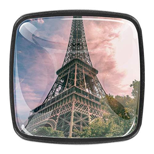 Schrankknöpfe aus Glas, 3,5 cm, transparent, für Küche, Badezimmer, Kommode, Schrank, Eiffelturm Paris