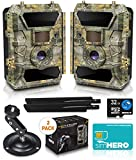 LTE 4G Cellular Trail Cameras – Outdoor WiFi Full HD Wild Game Camera with Night Vision for Deer Hunting, Security - Wireless Waterproof and Motion Activated – 32GB SD Card + Sim Card (2-Pack)