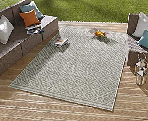 Tapis / Tapis moderne tapis de salon tapis d'extérieur – pour balcon ou terrasse – pour l'intérieur comme pour l'extérieur – l'accroche-regard de vos meubles de jardin – Losange Gris Crème – env. 80 x 200 cm
