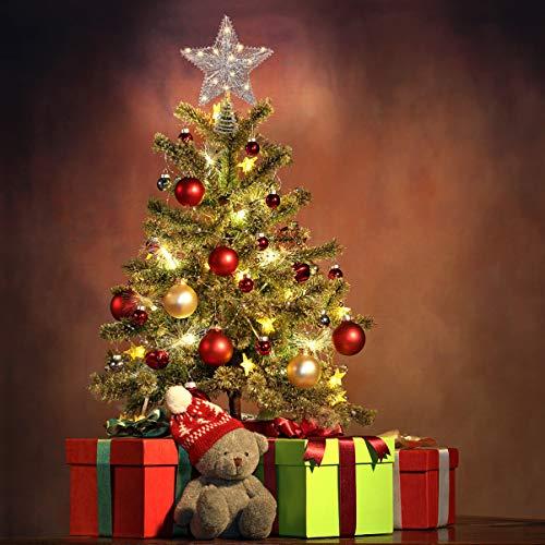 Unomor Topper Albero di Natale Topper Albero Stella Argento Scintillante per Albero di Natale casa (1 pz)