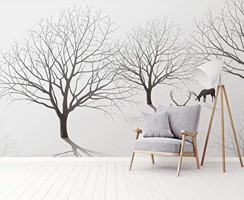 Papel Pintado Pared 3D Elk Bosque Abstracto Blanco Y Negro Moderno Dormitorio Salon Decoracion murales