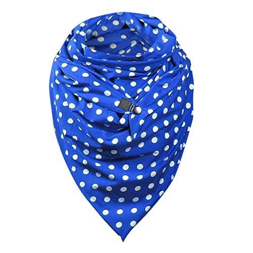 URIBAKY - Bufanda triángulo para mujer a la moda de invierno con botones de algodón cálido retro de impresión, chal casual Azul-2 Talla única