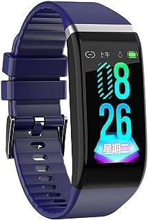 WUHUAROU Pulsera de Fitness, podómetro de presión Arterial, Banda Inteligente a Prueba de Agua, Reloj Deportivo con frecuencia cardíaca, Reloj Deportivo para Hombres y Mujeres (Color : Blue)