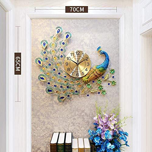 NHL wandklok, decoratie voor thuis, pauw, Europees kristal, luxe klok, creatief design, moderne decoratie, wandklok