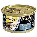 GimCat ShinyCat in Jelly, atún con gambas - Alimento húmedo para gatos, con pescado y taurina - 24 latas (24 x 70 g)