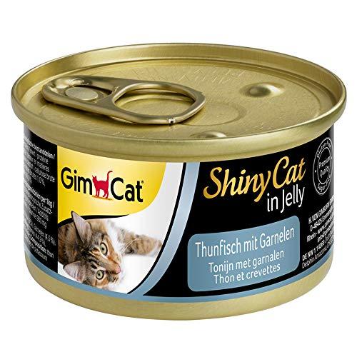 GimCat ShinyCat in Jelly Thunfisch mit Garnelen - Nassfutter mit Fisch und Taurin für Katzen - 24 Dosen (24 x 70 g)