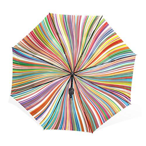 Paraplu abstracte slingerende regenboog, kleurrijk 3 gevouwen lichte anti-UV