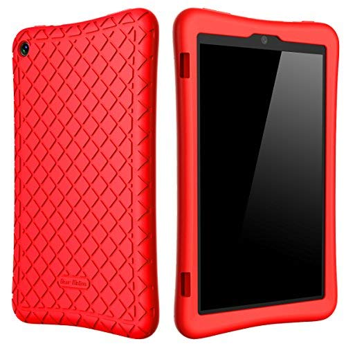 Bear Motion Silicone Case for Fire HD 8 2017 / 2018 - Anti Slip Shockproof Light Weight Kids Friendly Protective Case for Amazon All-New Fire HD 8 Tablet with Alexa (7th / 8th Gen 2017 / 2018 Model) (Red)