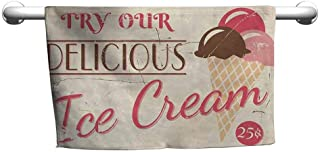DIMICA Bathroom Hand Towels Ice Cream Try Our Delicious Ice Cream Logo Pop Art Style Advertisement Graphic Print Soft Bath Towel 55 x 27 inch Pink Cream Umber