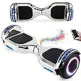 Wind Way Hoverboard 6.5 Pouces avec Bluetooth et Lumière Skateboard Électrique Moteur 700W Batterie 36V Gyropode Auto Équilibré Pas Cher avec Sac et Télécommande pour Enfant et Adulte - Argent Chromé