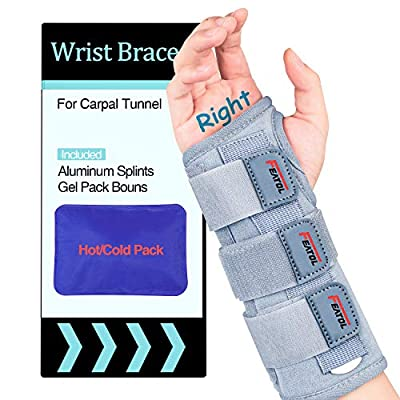 Carpal Tunnel Wrist Brace | Night Sleep Support Brace, Removable Metal Wrist Splint- Hot/Ice Pack, Right Hand, Medium/Large, Adjustable Hand Brace for Men, Women, Relieve and Treat Wrist Pain