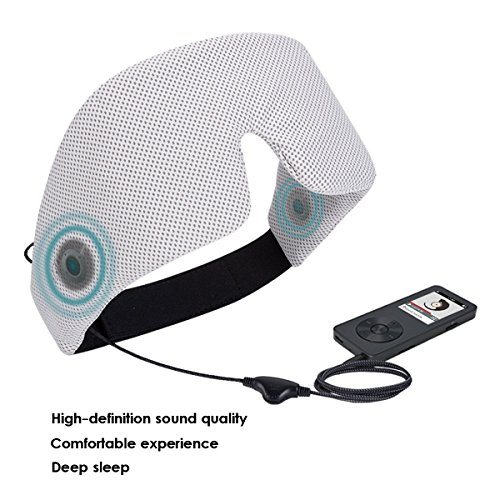 AGPtek 睡眠ヘッドフォン 睡眠ゴーグル 睡眠アイマスク スリープフォン 内蔵HDオーディオスピーカー 柔らか肌触り 不眠症の解消、旅行、瞑想 グレー