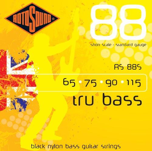 Rotosound Black Nylon Standard Gauge Flatwound Bass Strings Short Scale (65...