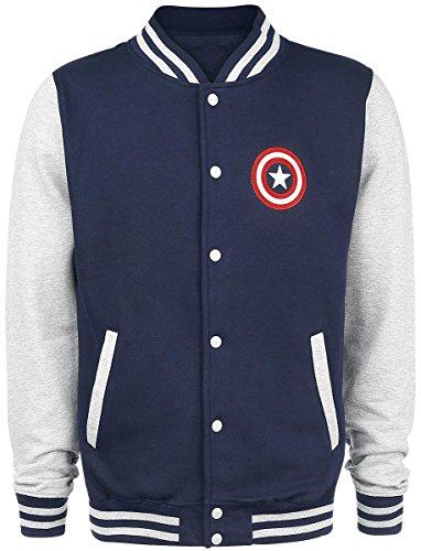 Captain America Logo Veste Collège gris chiné/marine L