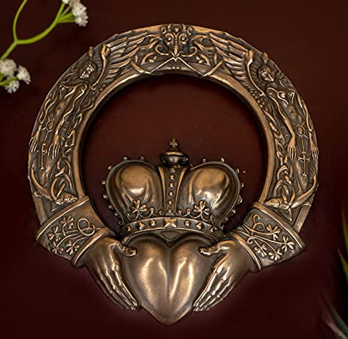 Ebros Royal Celtic Claddagh Ring Wall Plaque Figurine As Symbol of Love Friendship Loyalty Home Hanging Art Decor Sculpture (Bronze Patina)