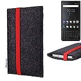 flat.design vegane Handy Tasche Coimbra für BlackBerry KEY2 (Dual-SIM) - Schutz Hülle Tasche Filz vegan fair rot