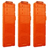 OIMIO 18-Darts Magazines Clips, 3 Pack 18 Darts Quick Reload Bullet Clips Magazine Clips for Nerf n-Strike Elite Blaster Transparent (Orange)