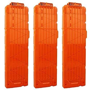 OIMIO 18-Darts Magazines Clips 3 Pack 18 Darts Quick Reload Bullet Clips Magazine Clips for Nerf n-Strike Elite Blaster Transparent  Orange