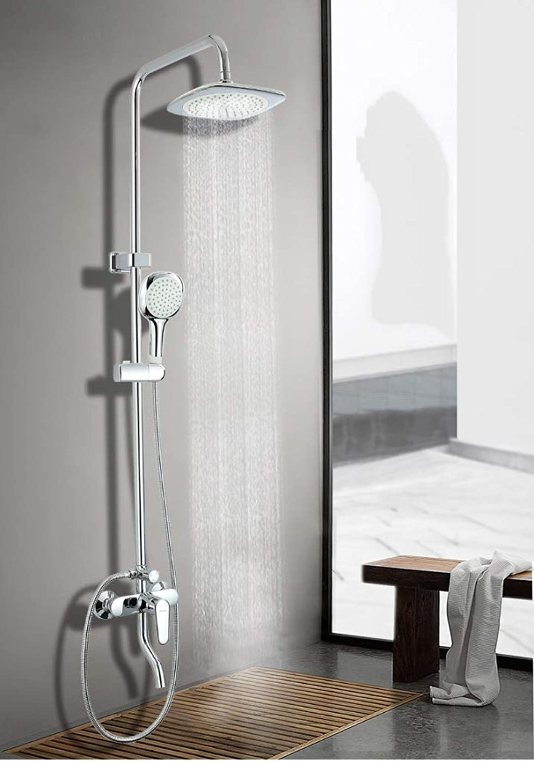 LHW Shower Set Copper Shell Pipe Bath Chrome Drench Massage Stage 3 Water Shower Set