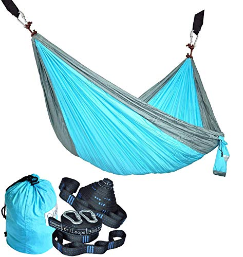 Cutequeen Trading Single Nest Parachute Nylon Fabric Hammock with Tree Straps;Color: Sky Blue/Grey