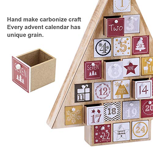 Juegoal Countdown to Christmas Calendar 2020 Nature Wooden Tree Shape Advent Calendar with 24 Storage Drawers, for Kids, 15