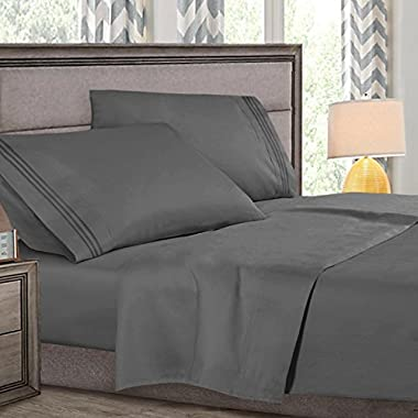 Queen Size Bed Sheets Set Gray, Highest Quality Bedding Sheets Set on Amazon, 4-Piece Bed Set, Deep Pockets Fitted Sheet, 100% Luxury Soft Microfiber, Hypoallergenic, Cool & Breathable