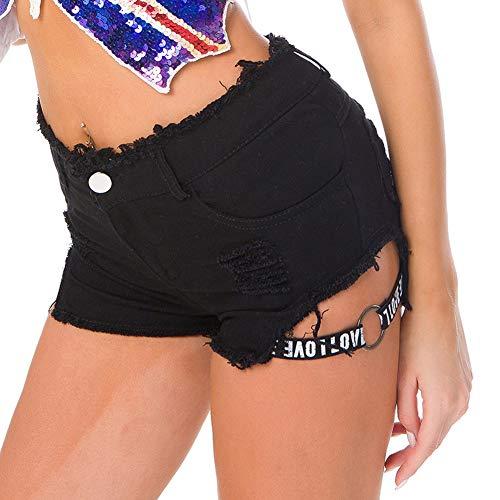 BIXUYAO Womens hoge taille Denim Shorts/Effen kleur Zip Button Hot Broek Gat met Pocket Denim Shorts, Zwart, M