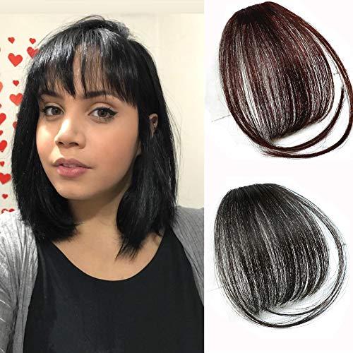 Wispy Bangs Hair Clip In Bangs Extensions Human Hair Clip Extensions for Women Fake Bangs Air Bangs Clip on Ultra Thin Hair Bangs (Black)