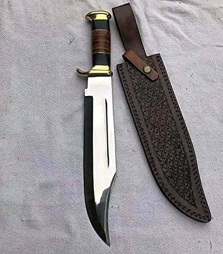 """D 2 Steel Custom Handmade 18"""" Buffalo Horn Handle Bowie Knife"""