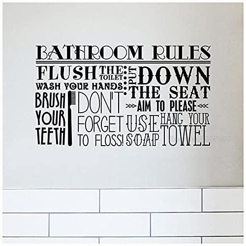 Zdklfm69 Pegatinas de Pared Adhesivos Pared Signo de Reglas de baño Citas de Vinilo Letras Palabras Baño Aseo Decoración de baño Decoración del hogar 130x76cm