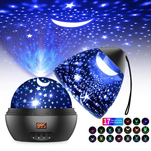 Sternenhimmel Projektor LED Projektor Lampe Kinder 360° Drehen 17 Beleuchtungsmodi und Timer Automatisch Abschlaten Baby Nachtlicht Stimmungslicht für Geburtstag Party Zimmer Weihnachten Hochzeit