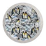 Perilla de cajón Diamante Pingüino Acuarela Pomo para muebles blanco cristal Perilla de puerta Redondo Tirador para muebles 4 Piezas Para Salón baño cocina dormitorio 3.5×2.8CM