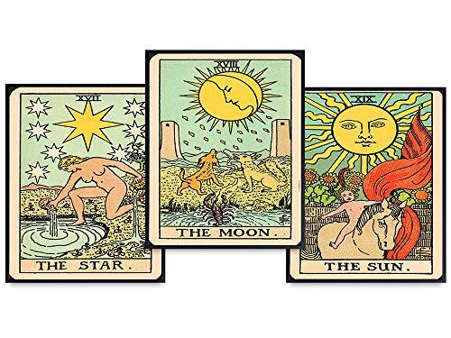 Tarot Cards Boho Wall Decor Set - Moon, Sun, Star Tarot Deck Wall Art - Vintage Tarot Cards - Bohemian Gift for Occult, Black Magic, Witchcraft, Astrology, Palmistry, Palm Reading Fan, Fortune Teller